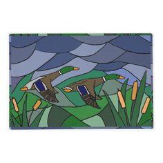 Awesome Mallard Ducks in Flight Abstract Placemat #mallard #ducks #abstract #hunting #placemat #birds And www.zazzle.com/inspirationrocks*