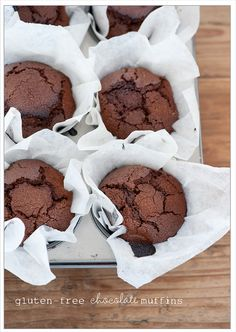 divine gluten-free chocolate muffins. also tips on food substitutes for allergies.