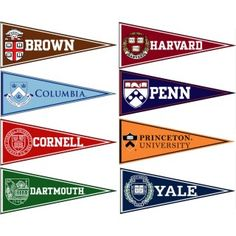 Ivy League Felt Pennant Set consists all Eight Ivy League Conference Team pennants each measuring inches. 8 Ivy Conference teams are included and the Ivy League Felt Pennant Set is officially licensed by the NCAA and selected schools. Sacramento, University High School, Harvard University, University Website, Brown University, College Pennants, Ivy League Universities, Ivy League Schools, Ivy League Style