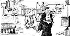 Rube Goldberg machine (not his illustration style, but the idea of a set of inter-connected machines/levers/whatever)