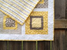 Sasparilla Baby Crib Quilt in yellow and gray