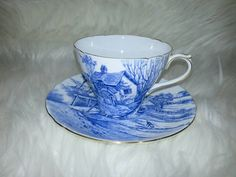 Vintage Shelley England ORIGINAL OLEANDER Shape (before it got lower, wider, and footed. GLORIOUS DEVON pattern.