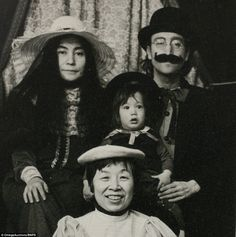 The unusual souvenir-style pictures are a far cry from the often serious portrayal of the Beatles legend, and also featureSean's nanny (pictured front)