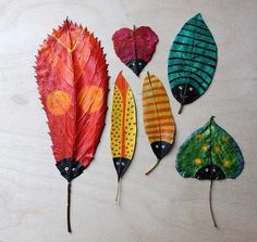 Inspiration to paint fall leaves...I would never have thought of this!  They would look beautiful framed, I bet!