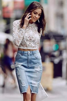 lace crop top and denim outfit