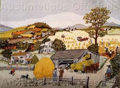 1984 Creative Expressions 3212 Crewel Embroidery Kit Balloon Adventure x Needlepoint Kit - Embroidery Design Guide Grandma Moses, Crewel Embroidery Kits, Embroidery Supplies, Embroidery Needles, Embroidery Patterns, Seed Stitch, Colorful Trees, Needlepoint Kits, Naive Art