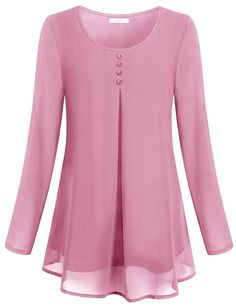 Women's Clothing, Tops & Tees, Blouses & ButtonDown Shirts, Women's Rollup Long Sleeve Round Neck Layered Chiffon Flowy Blouse Top Pink style fashion Tops Tees outfits Clothin is part of Women blouses fashion - Frock Fashion, Women's Fashion Dresses, Style Fashion, Fashion Shoes, Womens Fashion, Blouse Styles, Blouse Designs, Designs For Dresses, Pakistani Dress Design