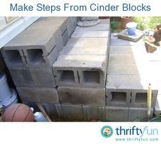 Steps with cinder blocks !Whether making temporary or permanent steps, cinder block can be a useful building material.