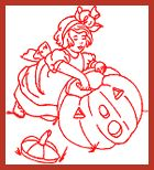 Free Redwork Pattern - October - Carving the Pumpkin by Barbara Parrish