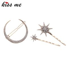 New Fashion 3pcs/set Barrettes Affordable Zinc Alloy Rhinestone Star Moon Hair Jewelry Accessores Like if you rememberGet it here ---> www.servjewelry.c... #shop #beauty #Woman's fashion #Products #homemade