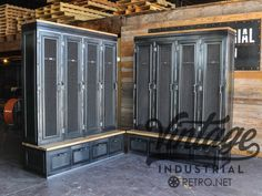 Vintage industrial inspired storage for an entryway or locker room. Larger drawer storage underneath, lockers up top. Built by hand in our shop in Phoenix, this pieces is crafted out of steel and reclaimed boxcar oak for the seat and top. Highly customizable piece, available with just the top section, or just the bottom drawers also. Glass doors would look great too, along with adjustable shelves inside the doors. This would work great as a bookcase, guncase, safe or fixture in a retail…