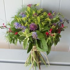 mint, dill, chive blossom, herbal bouquet