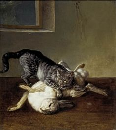 Johann Friedrich Grooth [also known as Ivan Fedorovich Groot] (1717-1801) - Cat and dead hare, 1777 - Oil on canvas