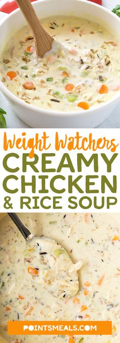 Creamy Chicken & Rice Soup (slow cooker) #weight_watchers #soup #dinner
