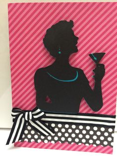 "Suburbia Cricut cartridge - pg 51 Joan figure cut at 4"". Base is from a package of 8 pre-made 5x7 cards from Michaels. Blk/wht striped ribbon is 5/8"" wide.  I added a strip of blk/Wht polka dot paper below the ribbon to balance out the card front. Created by: Melanie Weise"