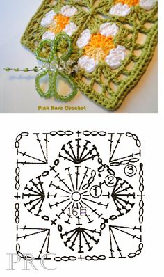 Flower square granny crochet chart, thanks so for share xox Crochet Motif Patterns, Crochet Diagram, Crochet Chart, Love Crochet, Crochet Granny, Diy Crochet, Crochet Flower Squares, Crochet Blocks, Motifs Afghans