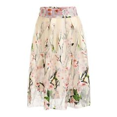 Peach Blossom Print Mesh Midi Skirt ($22) ❤ liked on Polyvore featuring skirts, flower print midi skirt, pink floral skirt, pink skirt, floral printed skirt and calf length skirts
