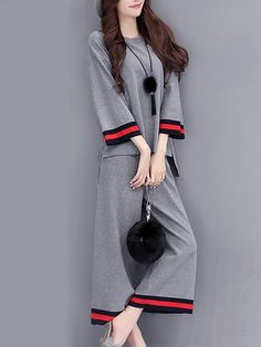 Shop Two-piece Set - Shift Long Sleeve Paneled Crew Neck Two-Piece Set. Stylish Work Outfits, Stylish Dresses, Casual Dresses, Cool Outfits, Fashion Dresses, Look Fashion, Korean Fashion, Womens Fashion, Fashion Design