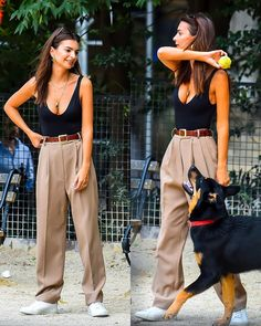 out with her dog at New York. Model Outfits, Chic Outfits, Fashion Outfits, Cute Fashion, Look Fashion, Kendall Jenner Outfits Casual, Emily Ratajkowski Outfits, Cooler Look, Model Street Style