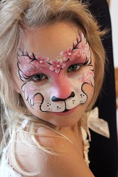Pink cat face painting