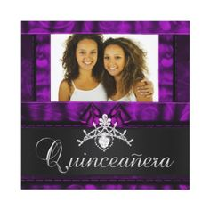 Twins Girls Purple Quinceanera 15th Birthday Announcement Add your own Photo