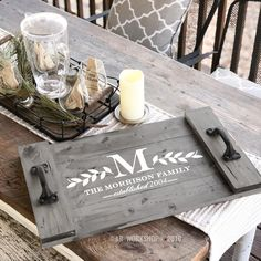 Monogram laurel branch plank wood tray Source by arworkshopmalvern Wooden Projects, Wooden Crafts, Diy Monogram, Wood Tray, Wood Wood, Pallet Tray, Craft Night, Wood Pallets, Wooden Signs