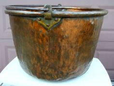 19th Century William Heyser Chambersburg Pennsylvania Copper Apple Butter Kettle Chambersburg Pennsylvania, Kettles, Apple Butter, Paddles, Polenta, Rare Antique, Barware, 19th Century, Pots