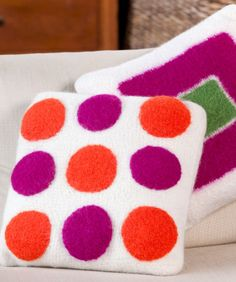 Free crochet pattern - Square Pegs Round Holes felted cushions by Lorna Miser in Stitch Nation Full O' Sheep (discontinued)