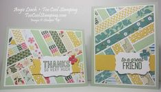 handmade cards: Simply Wonderful Herringbone Technique ... strip quilt look with beautiful Stampn' Up! papers ...