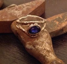 14k white gold and lab grown sapphire twig ring. By PhBeads.com