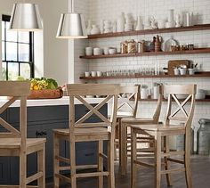 Updating your living room? Shop Pottery Barn for modern and classic living room ideas. Find living room furniture and decor and create the ultimate space. Cool Bar Stools, Counter Stools, Bar Counter, New Kitchen, Kitchen Decor, Kitchen Ideas, Kitchen Island, Peninsula Kitchen Design, Soapstone Kitchen