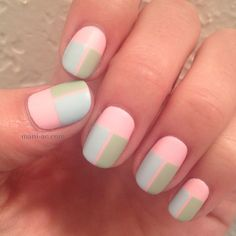 Still pics of manis from the February nail art challenge. This theme is pastel. More on Instagram (_mani_ac) and mani-ac.com. Nail Polish: O.P.I. - Mod About You, Zoya - Blu, Zoya - Neely, Orly - Matte Top Coat