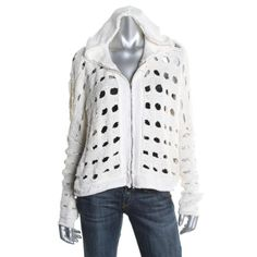 FREE PEOPLE NEW Ivory Open Stitch Long Sleeves Hooded Sweatercoat Jacket M BHFO
