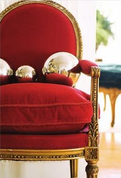 red velvet chair with silver balls photo by angus mcritchie ❤