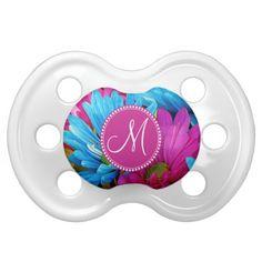 Monogram Hot Pink Teal Blue Gerber Daisies Flowers Pacifiers