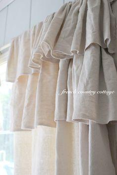 Ruffled Natural Linen Window Curtains