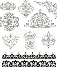 Set of ornaments based on Islamic design. Colors are global for easy editing. Repeating border swatches are included in brushes window.