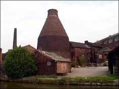 The rear of the factory of Price & Kensington Potteries Ltd   showing the bottle kiln - the canal at the bottom of the picture is the Trent & Mersey. So many of these lovely ancient factories have been torn down. Not this one, yeah!