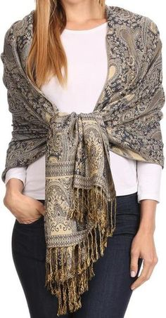 sakkas-kalin-long-wide-woven-patterned-fringe-tassel-pashmina-shawl - Finds of on Ways To Wear A Scarf, How To Wear Scarves, Tie Scarves, Paisley Scarves, Shawls And Wraps, Scarf Styles, Autumn Fashion, Fashion Outfits, Clothes For Women