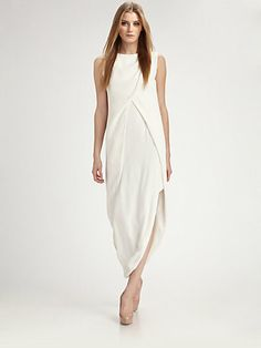 Halston - Double Crepe Petal Long Dress - Saks.com