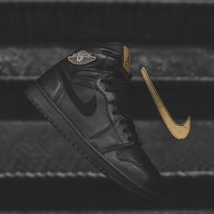 The Nike Air Jordan 1 Retro High BHM - Black / Metallic Gold is available now at kickbackzny.com.