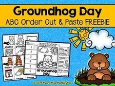Groundhog Day activities: FREE Groundhog Day ABC Order Cut and Paste activities. Groundhog Day Activities, Winter Activities For Kids, Holiday Activities, Classroom Activities, School Holidays, February Holidays, January, Free Teaching Resources, Teaching Ideas