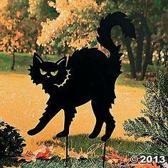 Black Cat Silhouette Yard Stake