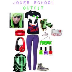 """joker school outfit"" by rebecca41622 on Polyvore"