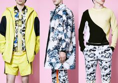London Menswear Print Highlights – Spring/Summer 2015 catwalks Palm Tree Repeats – Large Scale Palm Leaf Pattern Mix –  Magnified Bacterium Prints – Optical Irregular Stripe Build ups – Quirky Inverted Tropical  Opening Ceremony – Photos via Style.com