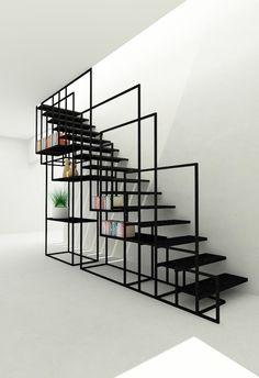 Après une belle installation centrale présentée hier voici un bel escalier design en métal avec un astucieux système de rangement qui fait aussi office de rambarde… C'est malin, minimaliste et très réussi visuellement. Cet escalier a été designé par Amir Zinaburg. Partagez cet article :174 PARTAGES Partager10 Tweet1 Partager1