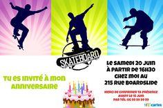 Invitation anniversaire skateboard à personnaliser et à télécharger. Avec des silhouettes de skateurs qui réalisent différentes figures de skate