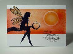 """blog.karten-kunst.de - Lavinia vor Abendsonne. Karten-Kunst Clear Stamp Set Weise Worte """"Glück"""" , Lavinia Stamps Tree Goddess Luna"""