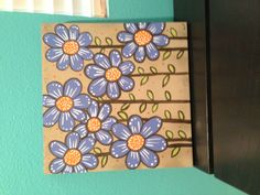 Flowers painting , acrylic on wood board.