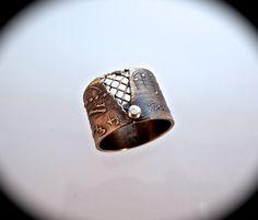 Bronze Music Ring Mixed Metal Ring Bronze Jewelry Mixed Metal Jewelry OOAK, by DeborahLeeTaylor